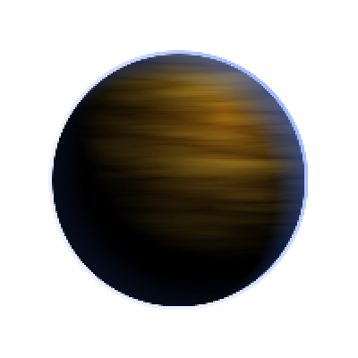 "This is a concept image for a procedurally-generated gas-giant-like planet in the game. You probably see this dude over on the left right now, too, but I wanted to talk briefly about it.  Right now, planets are rendered as a single circle filled with a radial gradient that is offset from its center. This is pretty effective for giving the illusion of a sphere, but it's a boring non-textured sphere.  Currently what I'd need to add to the game would be an extra layer or two of inverted radial gradients for ""atmosphere effects"" (the blue lighting) and an overlay texture that is either canned or also procedurally-generated. When I figure out how to do this I'll make a technical post explaining my technique.  Oh and yeah, I realize that the lighting is unrealistic — gas giants have clouds that align perpendicular to their axis of rotation, which corresponds to their axis of orbit around their star. Unless the axis of the planet got thrown off bigtime — which does occasionally happen with planets like Uranus — it doesn't really make sense. Our camera would have to have been rotated, too.  That reminds me; while I wont be going to great lengths to make the game universe realistic, I'll try to keep them somewhat-correct. More on that later."