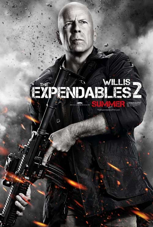Bruce Willis looks badass in The Expendables 2 character poster Plus, 11 more posters revealed, featuring Sly, Arnie, Van Damme, Hemsworth, Norris and more…