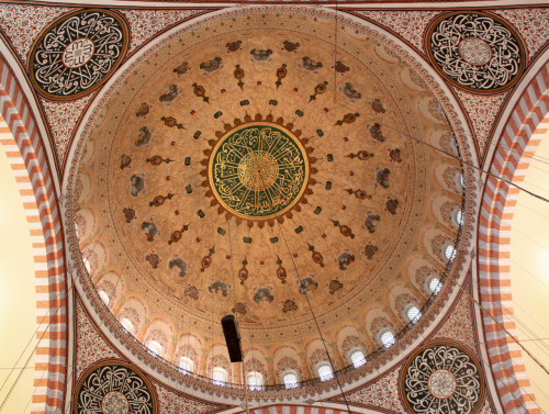 -Design below on of the domes of a mosque in istanbul. The designs of the mosques in Istanbul were laregely inspired by the early works of the great chief Ottoman architect, Mimar Sinan.