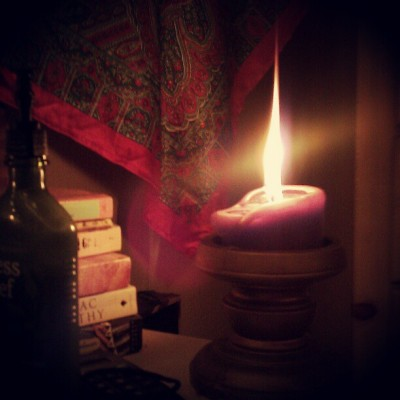 This candle's flame is going crazy. (Taken with instagram)