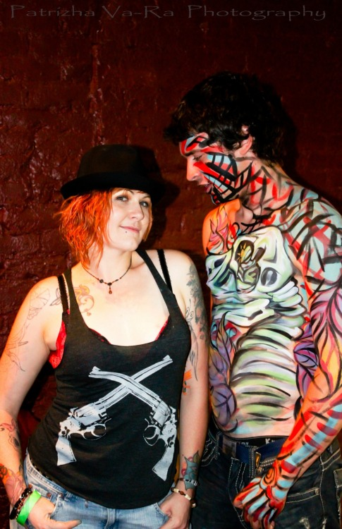 Me and my friend/ fellow artist/ bodypaint model, Chess Crane at the Professionals Only art show down in Riverside, Ca.  Sometime last year in August.  I painted a vulture skull/ abstract piece on his body! Such a fun night, I had a hang over for a week!