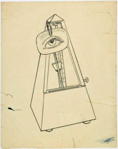 "Man Ray's ""Study for 'Object to be destroyed'"" ca. 1940, Zeichnung, 26,3 x 20,9 cm. Can't wait to see the Man Ray/Lee Miller exhibit in SF soon! via contemporary-drawing"