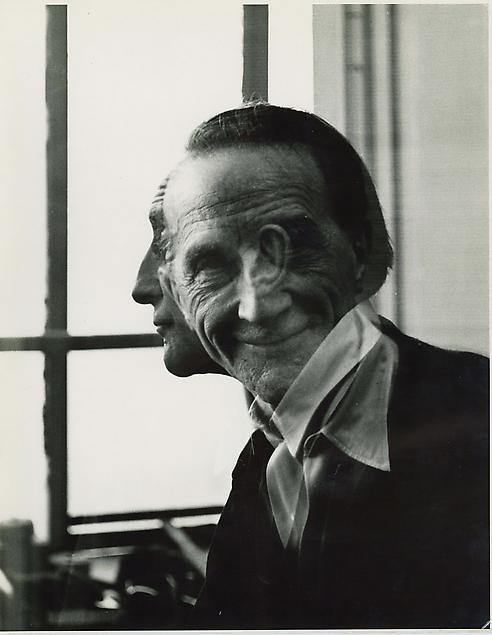 archives-dada:  Victor Obstaz, Portrait of Marcel Duchamp, 1953, Gelatin silver print, 13½ x 10½ in. (34.3 x 26.7cm), Titled, signed and dated on verso