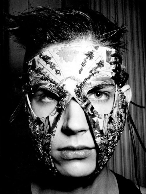 Scary prom night masquerade ball mask from April's Vogue Italia. The artisan goth fetish superhero look.