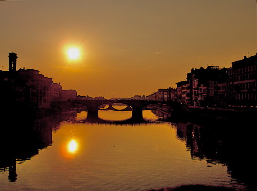 A Summer sunset over the Arno River…Breathtakng yet so peaceful.  - D.Franco