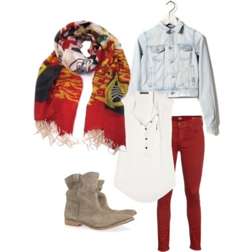Wondering what to wear with your Scarf Envy Jubilee Scarf? Try this look - cropped red skinny jeans, a white bib-front sleeveless blouse, denim jacket and suede ankle boots.