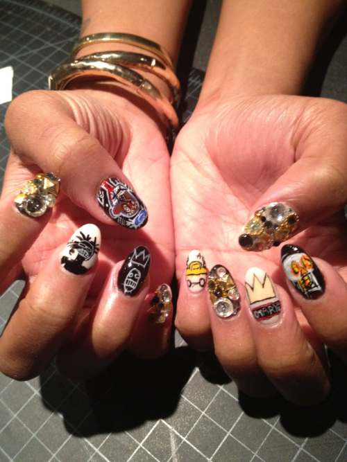 naominailsnyc:  Basquiat #nailart  These are amazing and I want them so bad.