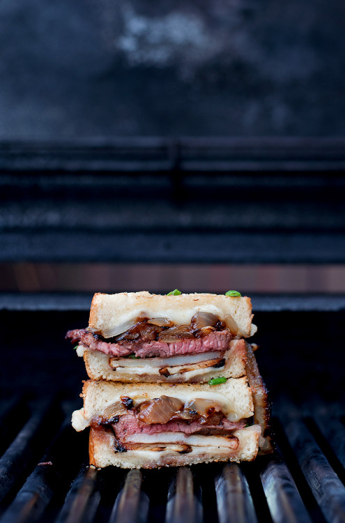 Steak potato bbq grilled cheese with grilled onions