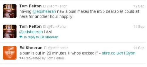 another proof that Tom's an Ed Sheeran fan. <3 Can he get any better?!
