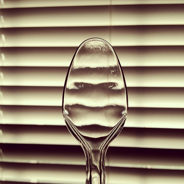 Spoon. #iseefaces #spoon #light #window #refraction #bright #lines  (Taken with instagram)