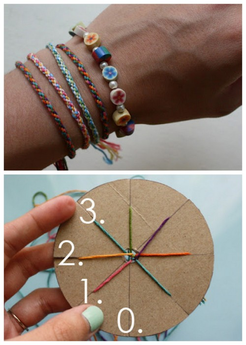 rainbowsandunicornscrafts:  DIY Woven Friendship Bracelet Using a Circular Cardboard Loom. Very easy, cool jewelry craft for kids weaving a seven strand friendship bracelet. Tutorial from Michael Ann Made here.