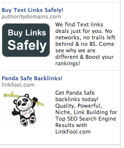 Already seeing Facebook ads for Panda-safe backlinks. That didn't take long