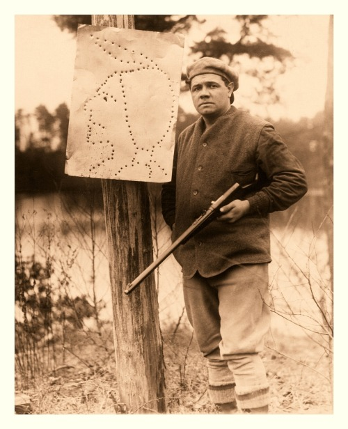 Babe Ruth Shoots Target Practice In A Different Time The target is very, very socially insensitive…but that was the 1920's.