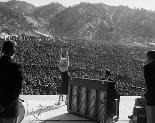 Marilyn Monroe entertains the troops, February 1954.