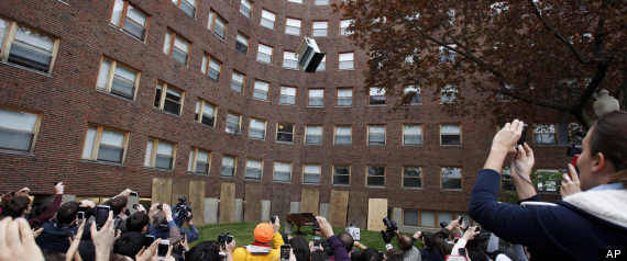 Residents of an MIT dorm dropped an upright piano from their roof Thursday to celebrate the last day students can drop classes without having them appear on their college transcript.  What an insane tradition.