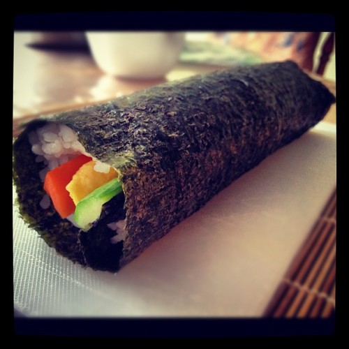 What's for lunch you ask? Self-made sushi. #sushi #yummy #homemade #selfmade #food #iphone #instagram #iphonesia  (Taken with instagram)