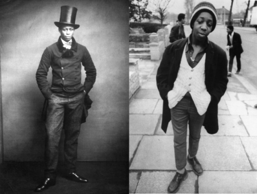 materialworld:  Left: 'A young dandy wearing a formal suit and Top hat, circa 1890' Right: 'Conroy Campbell, a pupil at Willesden High school, 1973'  I just rediscovered this book; Stuart Hall and Paul Gilroy put it together in 2007. It uses press photos to document post-war black settlement in Britain during the twentieth century. Instead of just recording the immigrants' settlement the book paints a really beautiful picture of people's lives. via Black Britain: A Photographic History | Teenage
