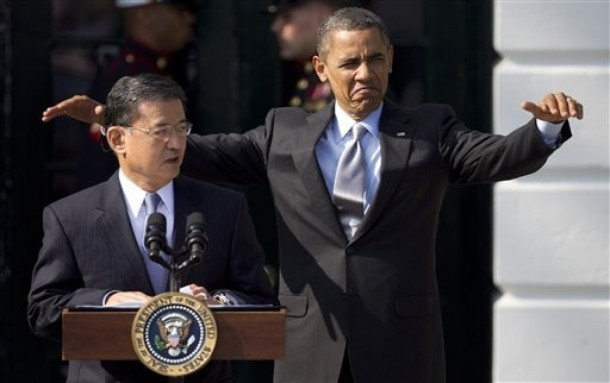 Veterans Affairs Secretary Eric Shinseki isn't super impressed with the President's ill-timed Godzilla impression. He thought it was funny, just poorly thought out.