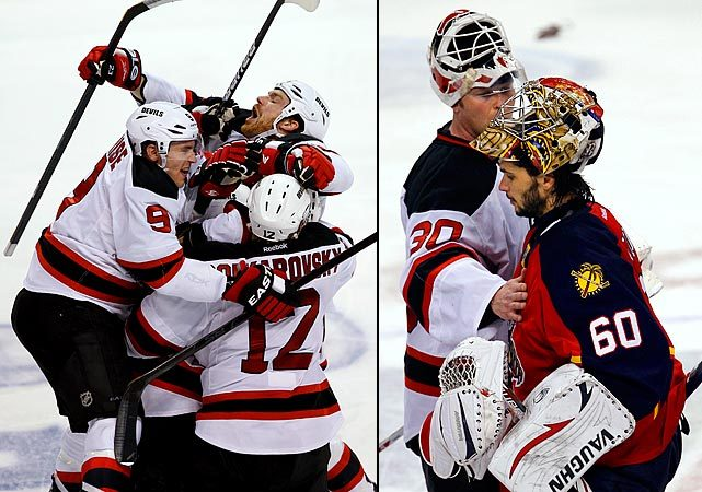 Congrats to the Devils, who advanced to the Eastern Conference Semifinals with a 3-2 overtime victory over the Panthers. New Jersey squandered a 2-0 lead before Adam Henrique beat Jose Theodore in the second overtime to give the Devils a victory. Martin Brodeur made 43 saves on the 20th anniversary of his first playoff appearance for New Jersey. The Devils will face the Flyers in the second round. (AP) GALLERY: The NHL's Great Game 7sDATER: Hot rookie, goalie lead Devils