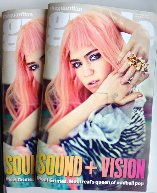 guardianguide:  Tomorrow's issue has arrived in the office - starring Grimes.    OMFFFFFG