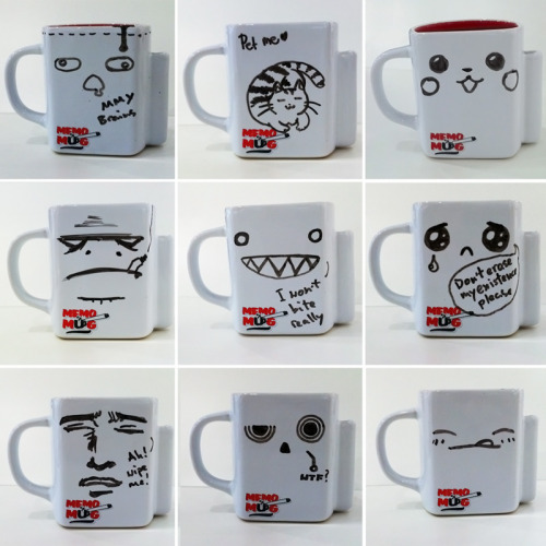 There's a demo model of the writeable memo-mug instore and we draw something new almost every day. Here's 9 mugs on mugs and more coming.  Memo-mug available here