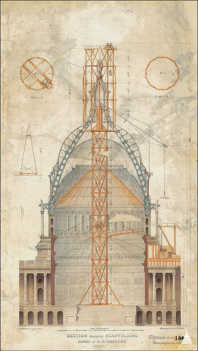 Image description: This drawing from 1863 shows the original scaffolding plans to get the the Statue of Freedom to the top of the Capitol dome. Image from the Architect of the Capitol