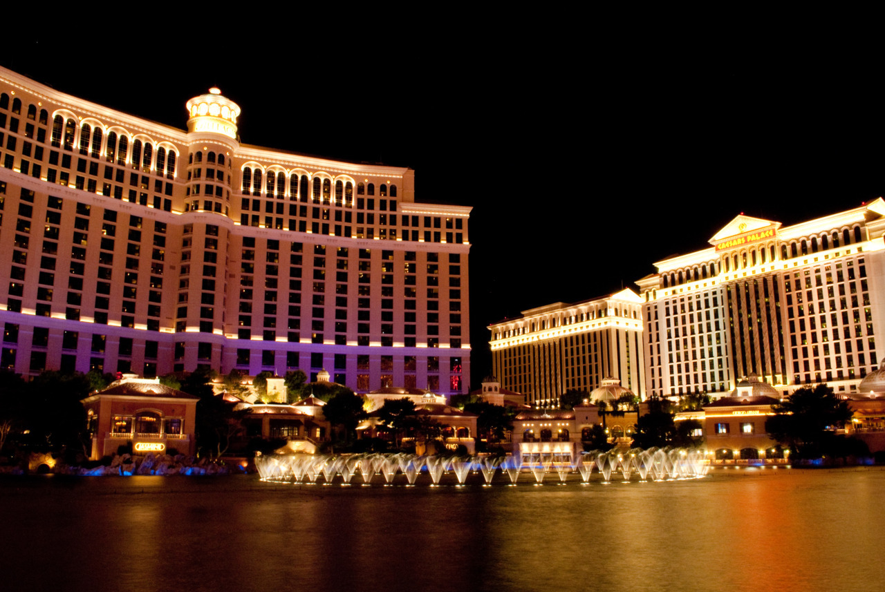 The Dancing Waters in front of the Bellagio in Las Vegas are a famous landmark and one of the most recognizable things in Vegas. This is a long exposure, creating some nice lights off the water. Caesars Palace is in the background as well.