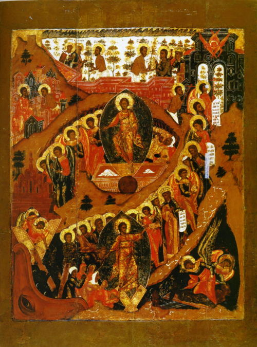 "brempire:  Boundless Christ | Resurrection Icon with Extra Scenes  Russian Icon, 17th Century  In the tomb with the body, in hell with the soul as God, in paradise with the thief and on the throne with the Father and the Spirit, You fill all things, O boundless Christ. The prayer above, said by the priest during the Divine Liturgy, attempts to describe in words the mystery of Jesus Christ's death, burial and resurrection. Simply put, Christ, being truly God, remained ""omnipresent"" – everywhere – even whilst seemingly constrained by a human body.At the centre of the scene is Christ ""in the tomb"", though because it is a Resurrection icon it is instead showing Jesus' physical rising from the tomb. Clothed in glorious golden robes, Jesus emerges from the stone coffin, with the discarded grave clothes still visible. To Christ's left the soldiers appointed to guard His tomb are witnesses to the empty tomb, whilst to His right are the angels which rolled away the stone and would later declare the good news to Mary Magdalene. Below Jesus' feet is a globe, or sometimes a part of a globe, representing Christ's victory over the world through His physical Resurrection. When the composition of this icon becomes set after the 17th century, Christ is almost always also shown holding a banner (called in Russian a Khorugv) bearing a red cross as He rises from the tomb. This image of the Resurrection by itself is probably more familiar to western Christians (e.g. Dieric Bout's Resurrection, c. 1455)"