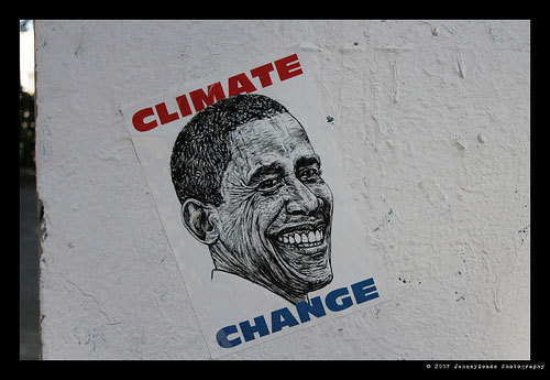 "Is climate change a wedge issue versus Romney? ""Looked at another way, though, climate change might not be a bad thing for Obama to talk about—as a wedge issue, with certain audiences. Specifically, the well-educated swing voters who backed him last time around but may be taking a look at Romney, who showed strength with upscale voters in the Republican primary. National Journal's Josh Kraushaar recently argued that this is a real vulnerability for Obama: It's easy to forget, now that Obama is preaching a populist message on the campaign trail, that a major part of his support came from the very 1 percent that he's now calling on to pay their fair share in taxes. Obama carried the super-wealthy—those making $200,000 or more a year—with 52 percent of the vote, 17 points more thanJohn Kerry won in 2004. But now surveys show Obama losing significant ground with affluent voters, trailing Romney 49 percent to 43 percent among those making $100,000 or more in the latest Quinnipiac poll—his worst showing among any economic demographic."" - Alec MacGillis (and a quote from Josh Kraushaar), Is Climate Change A Wedge Issue vs Romney? Photo courtesy of Earth beat Radio"
