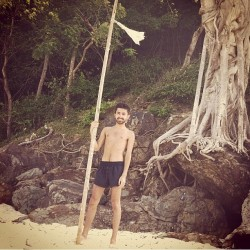 #thailand #beach #flag #pole #bamboo #sand #shorts #island #remote #smile #holiday (Taken with instagram)