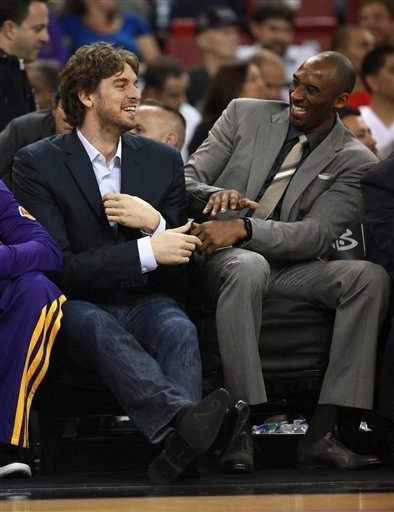 We have to assume that Kobe Bryant was only trying to tickle Pau Gasol because he laughs like the Pillsbury Dough Boy.