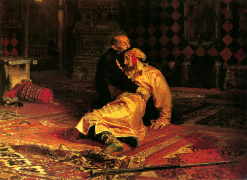 "redimprisonment:  This famous work of Repin, Ivan the Terrible and His Son Ivan: November 16, 1581, was painted in 1885.Ivan IV Vasilyevich (Russian: Ива́н Четвёртый, Васи́льевич ,Ivan Chetvyorty, Vasilyevich), known in English as Ivan the Terrible (= inspiring fear) (Russian: Ива́н Гро́зный, Ivan Grozny) (August 25, 1530, Moscow – 28 March [O.S. 18 March] 1584, Moscow) was Grand Prince of Moscow from 1533. The epithet ""Grozny"" is associated with might, power and strictness, rather than poor performance, horror or cruelty. Some authors more accurately translate it into modern English as Ivan the Awesome. Ivan oversaw numerous in the transition from a mere local medieval nation state to a small empire and emerging regional power, becoming the first Tsar of a new more powerful nation, acknowledged as ""Tsar of All Russia"" from 1547.The young Ivan was apparently just as cruel as his father, having accompanied him during the Massacre of Novgorod at the age of 15. For the whole five weeks, he and his father would watch the depredations of the Oprichniks with enthusiasm, and retire to church for prayer[citation needed], apparently as a supplement to the pleasure derived from the killings.His relationship with his father began to deteriorate during the later stages of the Livonian War. Angered at his father signing the Truce of Jam Zapolski, Ivan demanded to be given command of some troops to liberate Pskov. Their relationship further deteriorated when on November 15, the Tsar, after seeing his pregnant daughter-in-law wearing unconventionally light clothing, physically assaulted her. Hearing her screams, the Tsarevich rushed to his wife's defence, angrily shouting, ""You sent my first wife to a convent for no reason, you did the same with my second, and now you strike the third, causing the death of the son she holds in her womb."" Yelena subsequently suffered a miscarriage. The Tsarevich confronted his father on the matter, only to have the topic d to his insubordination regarding Pskov. The elder Ivan accused his son of inciting rebellion, which the younger Ivan denied, but vehemently stuck to the view that Pskov should be liberated. Angered, Ivan's father struck him on the head with his sceptre. Boris Godunov, who was present at the scene, tried to intervene, but received blows himself. The younger Ivan fell, barely conscious and with a bleeding wound on his temple. The elder Ivan immediately threw himself at his son, kissing his face and trying to stop the bleeding, whilst repeatedly crying, ""May I be damned! I've killed my son! I've killed my son!"" The younger Ivan briefly regained consciousness and said ""I die as a devoted son and most humble servant."" For the next few days, the elder Ivan prayed incessantly for a miracle, but to no avail. The Tsarevich died on November 19, 1581."