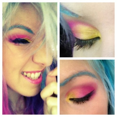 Make de hoje: pink&yellow! Sombras da Sugarpil e da Limecrime! ;) (Taken with instagram)