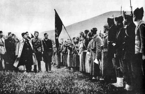 Marshal Josip Broz Tito reviewing the 1st Proletarian Brigade.
