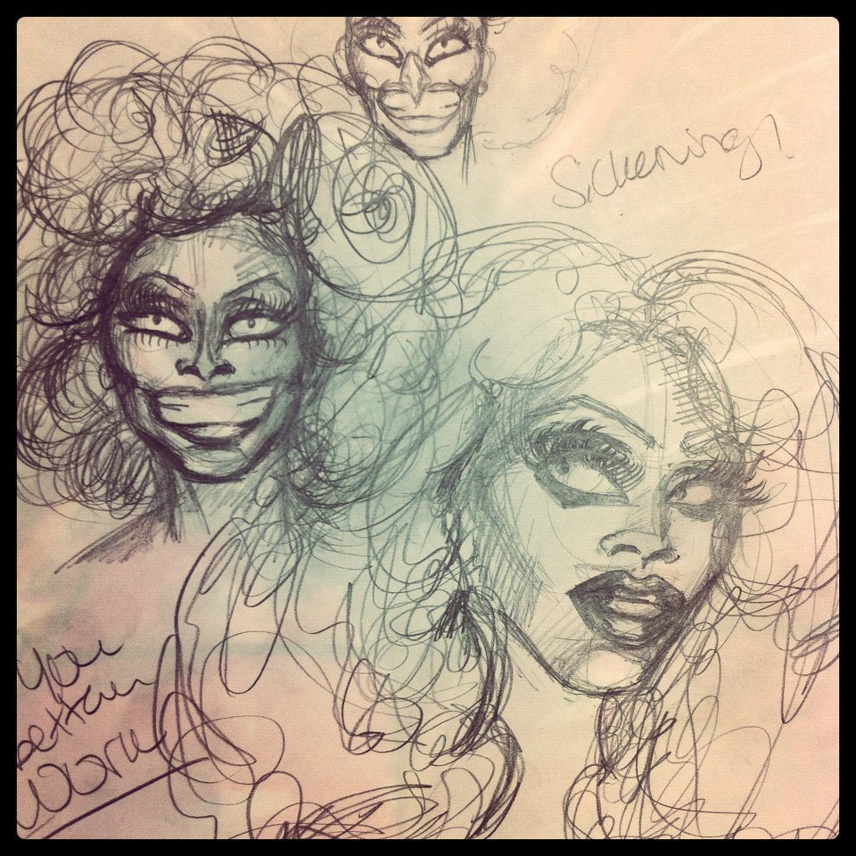 Trying to study RuPaul's features…Sickening.