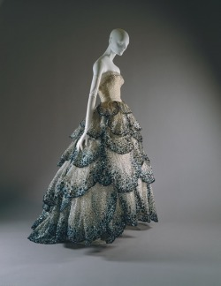 "Dose of vintage: ""Junon"" dress, Christian Dior Haute Couture F/W 1949–50. Pale-blue silk net embroidered with iridescent blue, green, and rust sequins."
