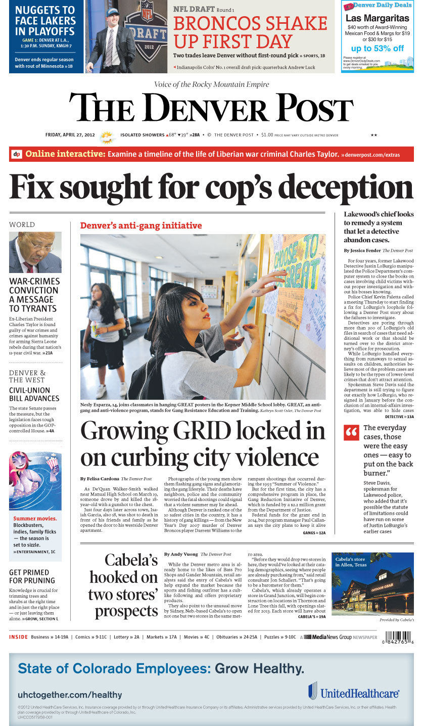Today's front page: Fix sought for cop's deception For four years, former Lakewood Detective Justin LoBurgio manipulated the Police Department's computer system to close the books on cases involving child victims without proper investigation and without his bosses knowing. Are you surprised to learn a detective was able to hide cases from his bosses?