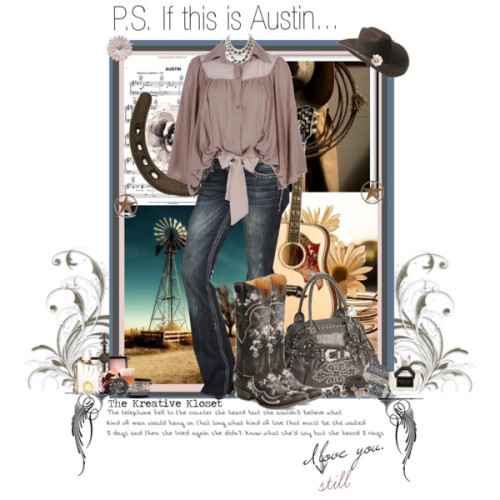 P.S. If this is Austin… by thekreativekloset featuring rhinestone cowgirl jewelry