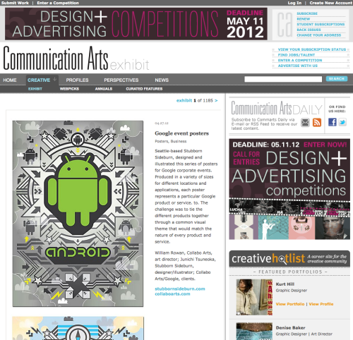 My google poster series is on Communication Arts online today. Nice. -SOURCE-http://www.commarts.com/exhibit/google-event-posters.html