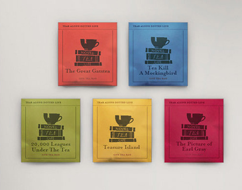 Branding for fictional cafe, Novel Tea by Woody Harrington (Source: nevver)