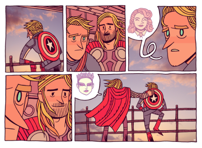 mrhipp:  BETWEEN ASSEMBLIES  i wonder… why is thor so cute? :B