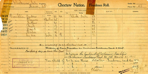 Choctaw Freedmen Roll documenting a portion of Buck and Matthew Franklin's family. Courtesy National Archives at Fort Worth via the National Museum of American Indian's IndiVisible exhibit