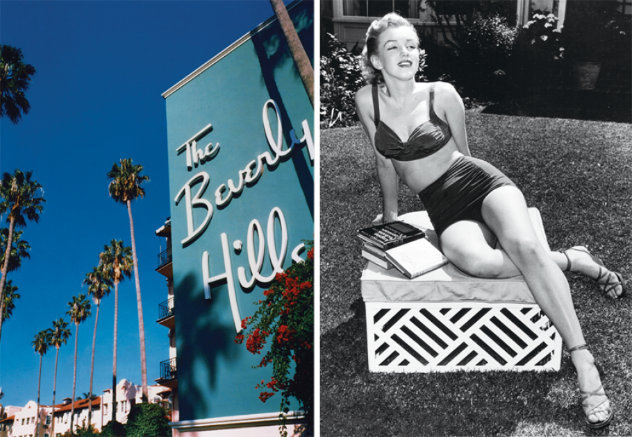 vanityfair:  The pink-and-green glamour of the century-old Beverly Hills Hotel—seriously swoon-y photos here, along with vintage snaps of the high-profile guests (like Marilyn, shown here in BHH repose in 1951.)  If only people today still thought this was beauty!