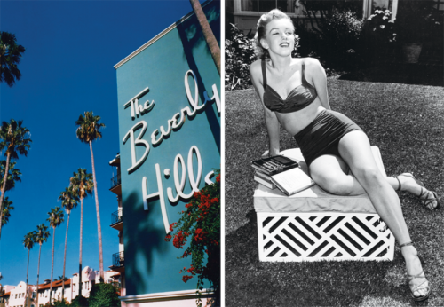 vanityfair:  The pink-and-green glamour of the century-old Beverly Hills Hotel—seriously swoon-y photos here, along with vintage snaps of the high-profile guests (like Marilyn, shown here in BHH repose in 1951.)
