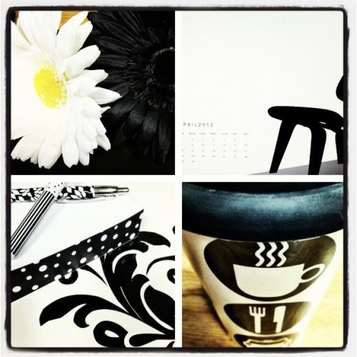 #aprilphotoaday #blackandwhite #desk #gerberdaisy #mug #officesupplies  (Taken with instagram)