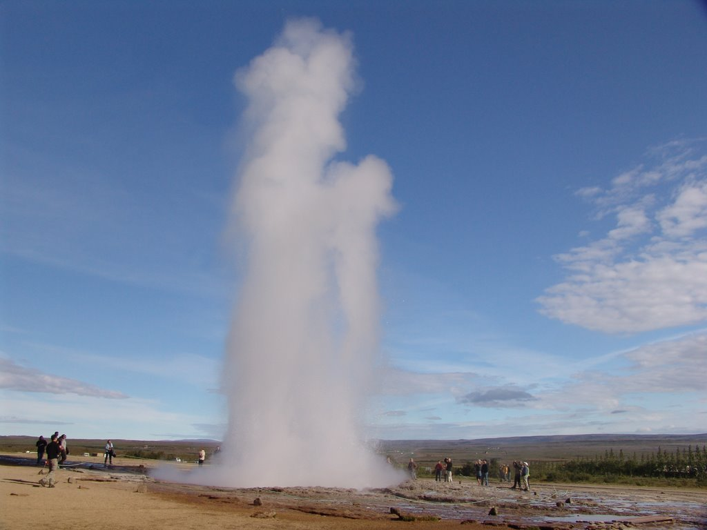 "The Great Geysir in Iceland was the first geyser ever described in a printed source, and the first known to modern Europe. It's highest recorded eruption was in 1845, at which it reached a height of 170 meters. It is from Geysir that English gets the word ""geyser"", one of very few loan words from Icelandic."