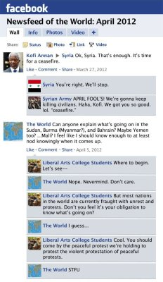 collegehumor:  Facebook News Feed History of the World: April 2012