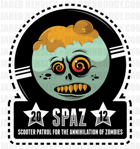 Hey all! As you know, I've revealed the Patch design for this years SPAZ, and I am now proud to show you the sticker design. It's much more detailed and pops nicely. These will be outstanding stickers! I will have Pre-order info up soon for these. I am trying to work out the cost so I can pass you guys along the lowest pricing.  See the forum for more info etc, please: http://www.modernbuddy.com/forum/topic21809.html