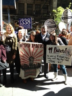 "Richard Trumka Prez of the AFL-CIO Joins the 99 Pickets!!! ""These writers and producers are doing what workers have always done. They're doing a great job in the TV industry, and now they're joining together in a union to turn these jobs into great jobs with health care. I'm proud to stand with them,"" Richard Trumka said.""If you consider a workplace fraught with violations of wage and hour laws, long hours, unfair pay and zero benefits to be a sweatshop, then any number of television production companies in New York City fit that bill,"" said Lowell Peterson, Executive Director, Writers Guild of America, East. ""Nonfiction is almost entirely non-union, but it will change as the WGAE continues to organize and bargain on behalf of writers and producers in this part of the industry. Creative professionals understand the importance of banding together to make their work lives better.""    http://nonfictionunited.org/"