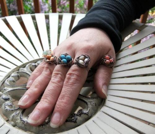 New birdsnest rings by Kris Chavez!  They come in sizes 5 - 8 and in many colors. Available soon at Poor Richard's Downtown, Nest Artistic Home in Winterpark andMountain Living Studio in Manitou. (and direct, of course)